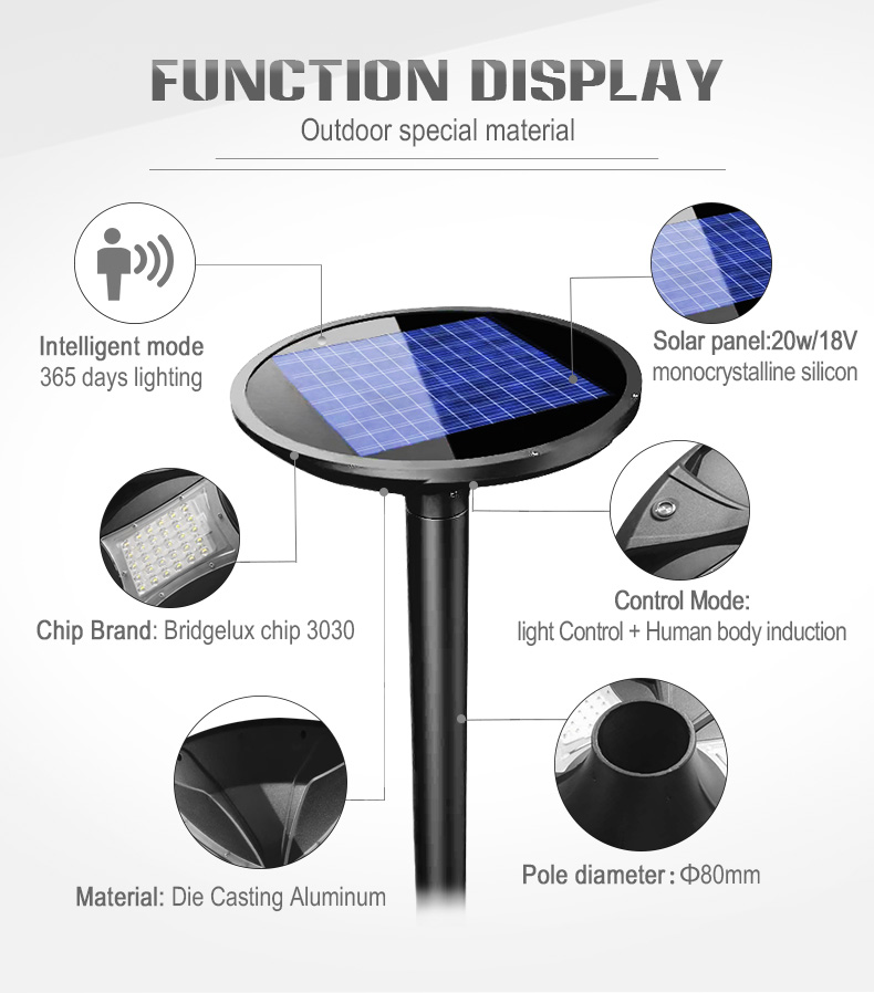 20W all in one solar ufo led post top lamp for outdoor garden lighting