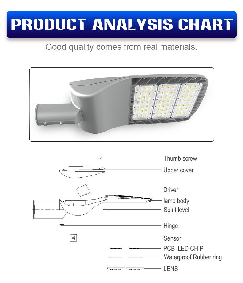 Parking lot die-cast aluminum motion sensor 100W 150w IP66 outdoor street light column LED street light