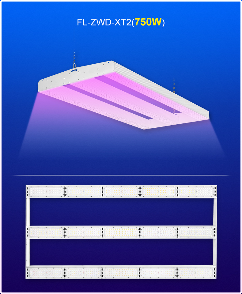 Chinese Direct  Chip LED Grow Light 500w 1000W 8 Bars Hydroponics Full Spectrum Fluence Commercial Planting Fixture FL-ZWD-XT2